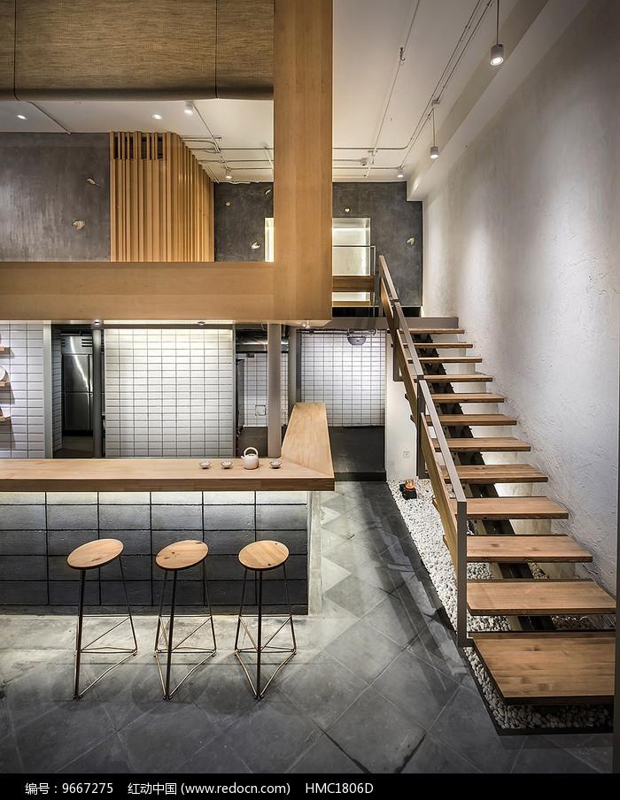 日式汤面店楼梯意向图片