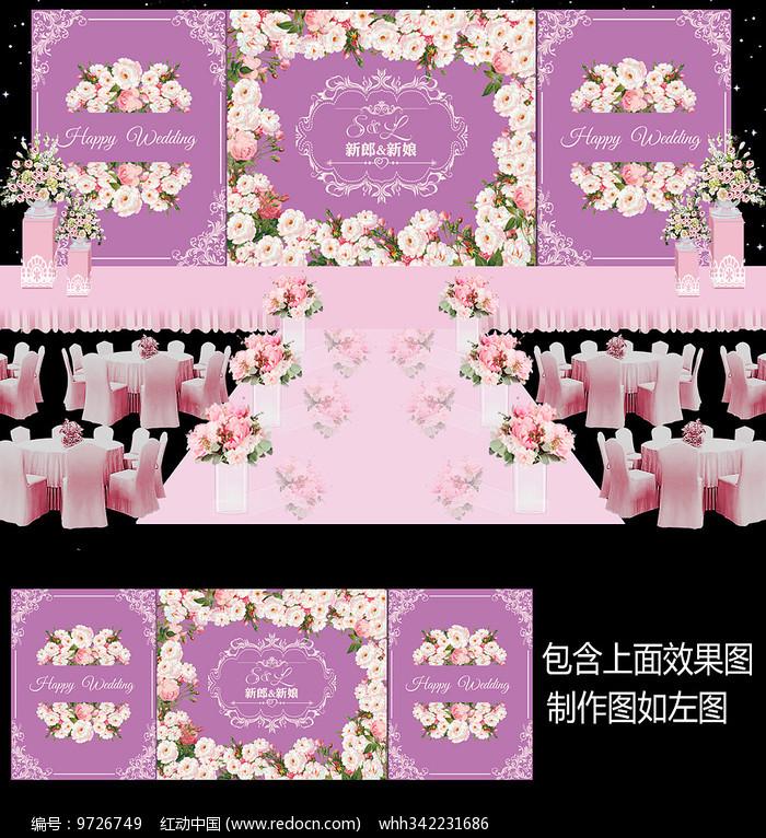 桃花风格婚礼舞台背景图片