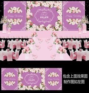 桃花风格婚礼舞台背景