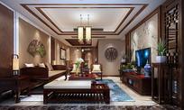 文雅中式客厅效果图