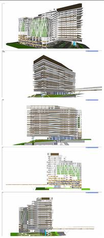现代简约风格高层医院模型