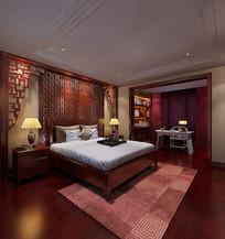 中式古居卧房效果