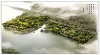古典园林鸟瞰图 PSD