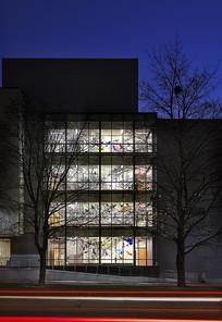 国外某中学夜景建筑 JPG