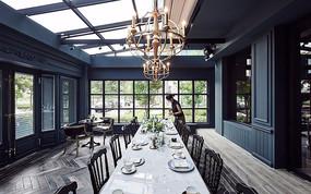 美式咖啡厅长桌意向