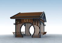 新中式景观亭模型