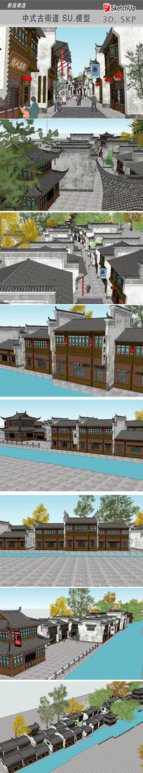 中式古街道园林建筑