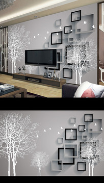北欧简约抽象花卉电视背景墙