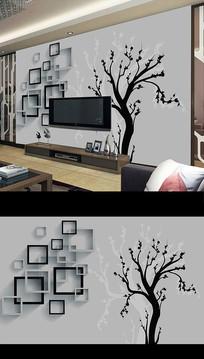 北欧简约抽象树木电视背景墙