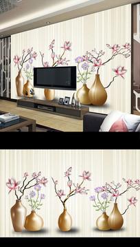 北欧简约时尚花卉电视背景墙