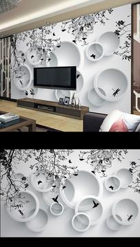 北欧时尚简约花卉电视背景墙