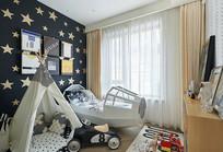 布置成太空舱的儿童房