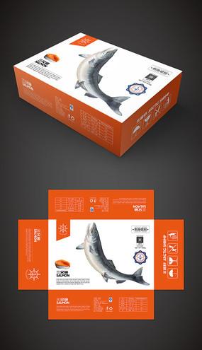 船冻三文鱼礼盒包装设计模板