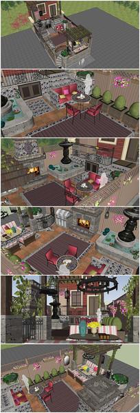 精美别墅洋房庭院设计su模型
