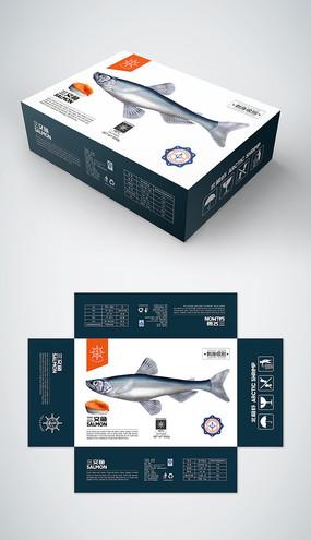 精品三文鱼礼盒包装设计模板