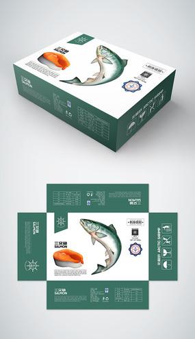 极品三文鱼礼盒包装设计模板