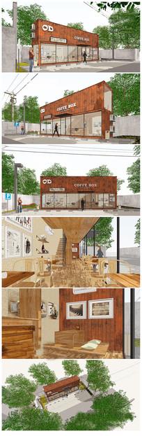 集装箱改造咖啡奶茶店su模型