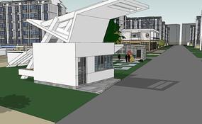现代小区住宅群模型