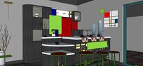 学校咖啡厅模型