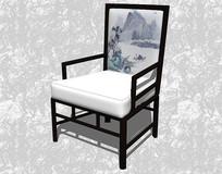 中式山水画单椅