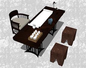 中式组合桌椅家具