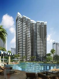 带泳池的高层PSD建筑效果图