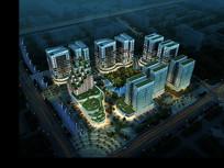高层建筑小区规划PSD鸟瞰