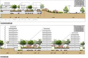 高档住宅区小高层建筑剖面图