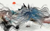 高端中国风抽象水墨山水背景墙