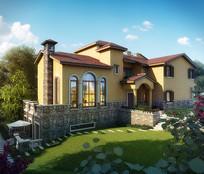 花园别墅建筑模型