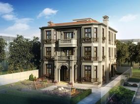 三层欧式别墅建筑PSD效果图