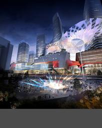 商业街广场夜景PSD建筑