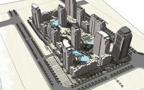 现代小区楼盘模型
