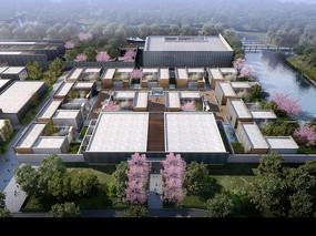 现代园林建筑鸟瞰模型
