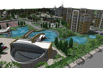 现代住宅景观模型