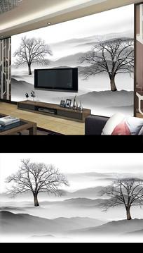 新中式抽象水墨山水电视背景墙