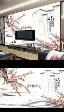 新中式工笔梅花电视背景墙