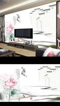 新中式手绘荷花电视背景墙
