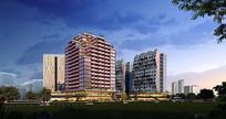 创意奇特造型商住楼建筑效果图