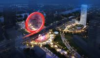 创意时尚广场造型建筑鸟瞰图