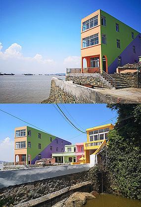 海边七彩乡村民房