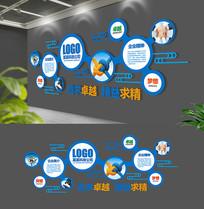 蓝色大型圆形企业文化墙设计