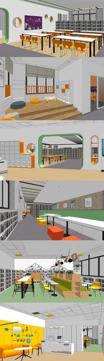 图书馆室内设计SU模型