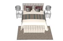 现代欧式床具su模型