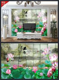 3D立体江南荷花背景墙海报
