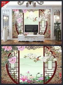 3D牡丹花鸟拱门电视背景墙