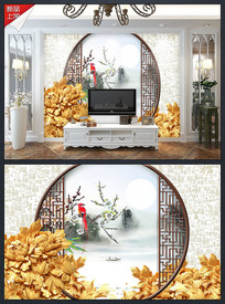 3D木雕喜鹊花鸟拱门背景墙