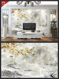 大理石纹山水海棠背景墙海报