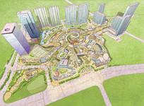 都市商业广场手绘鸟瞰图