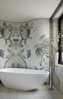 蝴蝶背景衬托的卫生间
